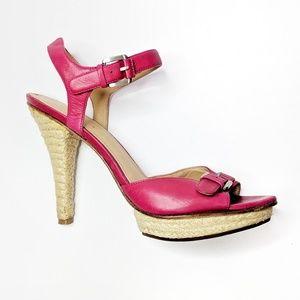 VIA SPIGA Cain platform sandal pink leather heels